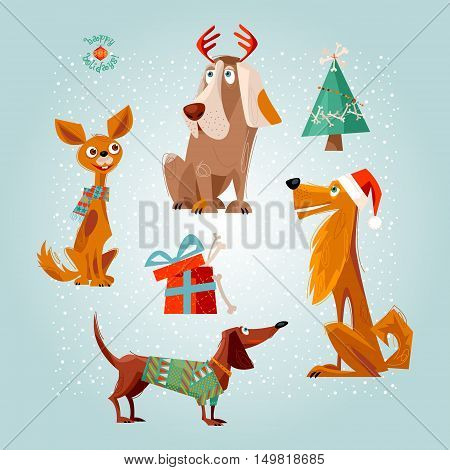 Holiday for dogs. Four dogs and gift box with bones. Christmas greeting card. Vector illustration.