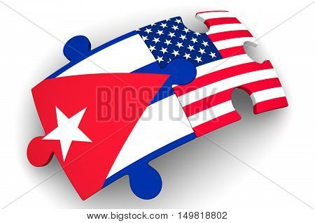 The cooperation of Cuba and the United States of America. Puzzles with flags of the United States of America and Cuba on a white surface. The concept of coincidence of interests in geopolitics. Isolated. 3D Illustration