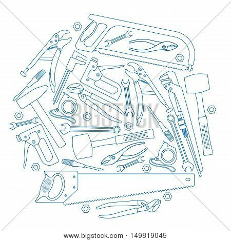 Set of repair tools icons in circle shape background. Template for packaging cards posters and menu. Vector stock illustration.