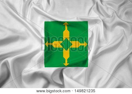 Waving Flag Of Brasilia, Distrito Federal, Brazil