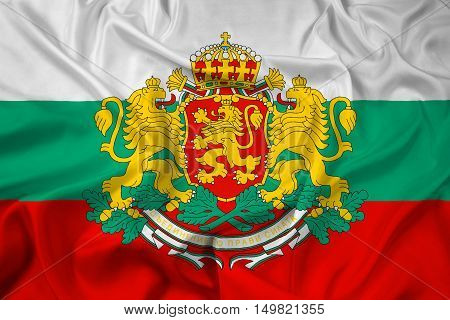 Waving Flag Of Bulgaria With Coat Of Arms