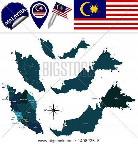 Map Of Malaysia With Named Governorates