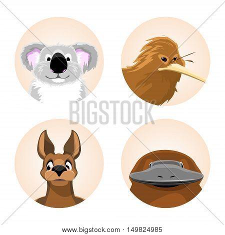set of avatars Australian animals. funny cartoon of koala, kiwi, kangaroo, platypus. vector illustration