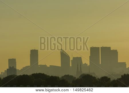 The Hague the Netherlands - September 27 2016: The Hague skyline at sunrise