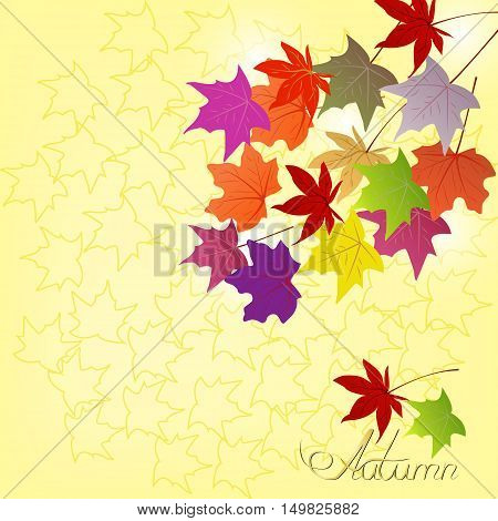Yellow light background with falling autumn leaves and yellow background