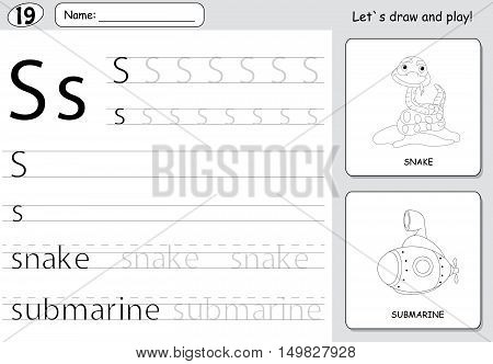 Cartoon Snake And Submarine. Alphabet Tracing Worksheet: Writing A-z And Educational Game For Kids