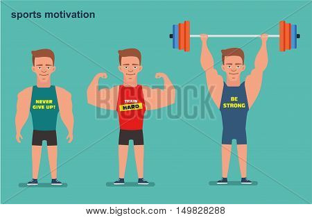 A cartoon character a young strong guy the athlete t-shirt and shorts holding a barbell. Sport motivation. Flat illustration. Weightlifting sport