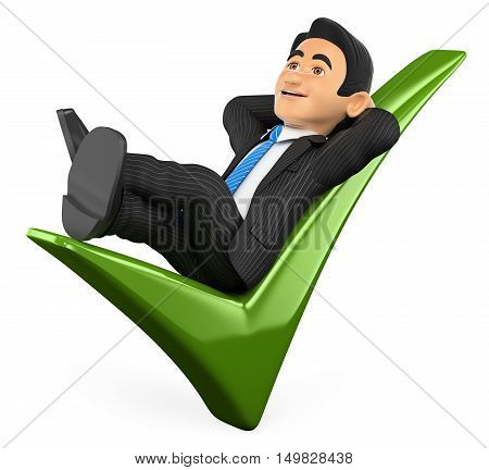 3d business people illustration. Businessman lying on a green tick. Isolated white background.