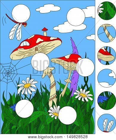 Cartoon Mushroom House On The Grass Forest. Complete The Puzzle And Find The Missing Parts Of The Pi