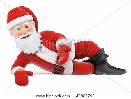 3d christmas people illustration. Santa Claus lying pointing down. Isolated white background.