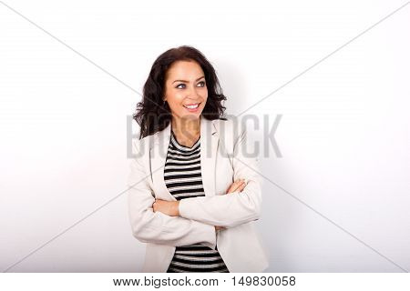 Business Casual Woman Smiling With Arms Crossed