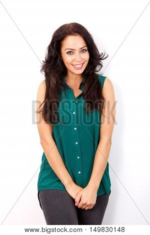 Shy Woman Standing Isolated On White Background