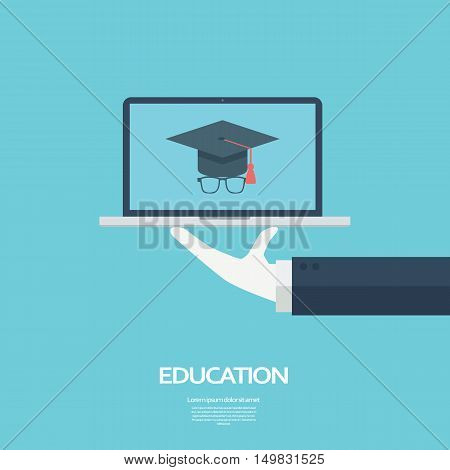 Online education concept. Student icon on laptop. eps10 vector illustration.