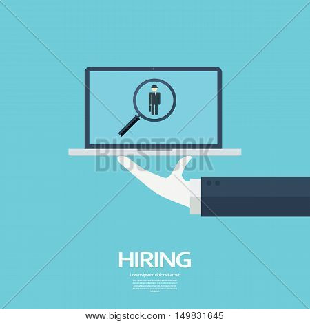 Search for job symbol with magnifying glass in modern flat design. Eps10 vector illustration.