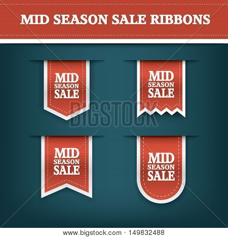 Mid season sale ribbon elements for online shopping and your products. E-shop icon bookmark with text. Eps10 vector illustration.