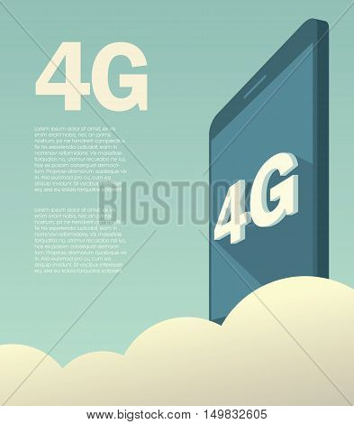4G high speed mobile data technology for smartphones. Promotional poster or banner with text layout. Eps10 vector illustration.