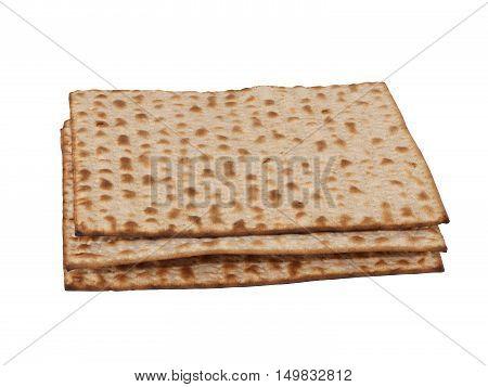 Three matzot on white background. Matzo - jewish passover bread within pottle