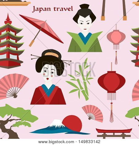 Japan travel pattern. Travel concept. Traditional clothes and cuisine, authentic architecture and nature. Japanese cultural symbols.