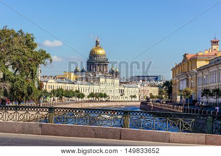 Saint Isaac Cathedral in Saint-Petersburg, Russia. Urban scene