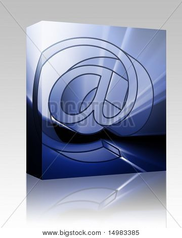 Software package box At internet symbol, digital illustration with glowing light