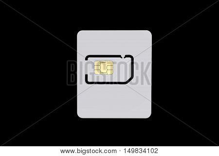 Blank sim card isolated on black background with clipping path