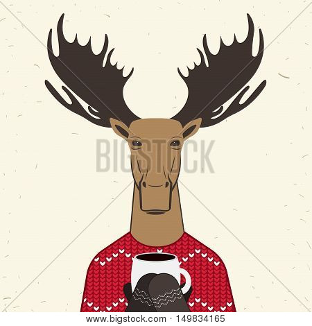 Funny Christmas card moose. Vector illustration Christmas card Deer in knitted sweater with ornament. Christmas elk