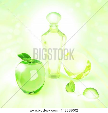 The composition of the various fruit shape and perfume on a green background. 3D illustration