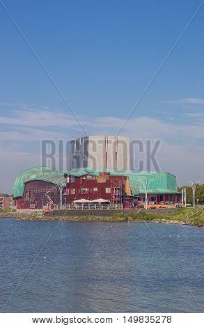 HOORN, NETHERLANDS - SEPTEMBER 13, 2016: City theater at the IJsselmeer lake in Hoorn, Netherlands