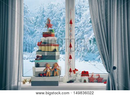 Christmas tree made of present boxes and other decor on windowsill