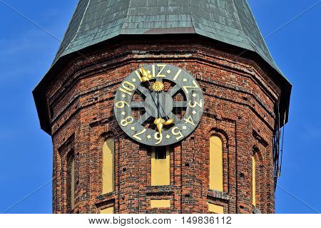 Tower of the Cathedral of Kenigsberg. Gothic 14th century. Symbol of the city Kaliningrad Koenigsberg before 1946 Russia