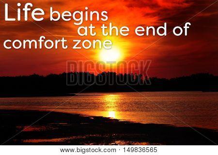 Comfort zone concept. Beautiful shiny sunset on bay
