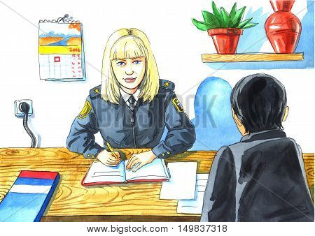 illustration watercolor drawing a children's profession mother - investigator. woman sitting at Desk with pen in hand and the man back.