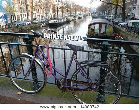 Bicycle along Amsterdam Canal