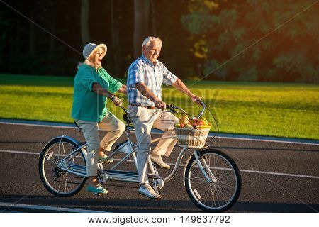 Senior couple on tandem bike. Bicycle with fruit basket. Lovers of fast ride. Racers on the main road.