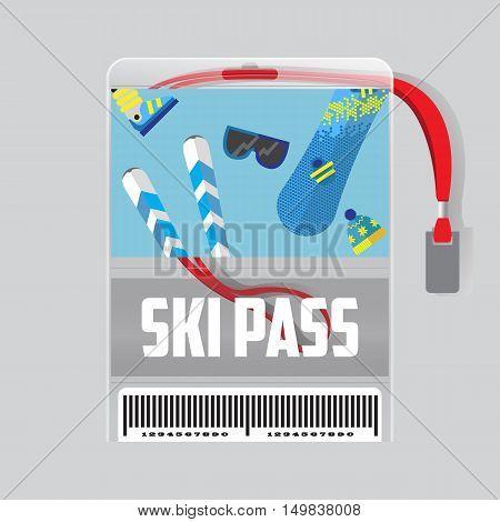 ski pass template with barcode.blue ribbon .Winter resort.flat design