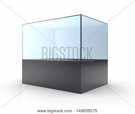 3D illustration of empty glass showcase on a white background