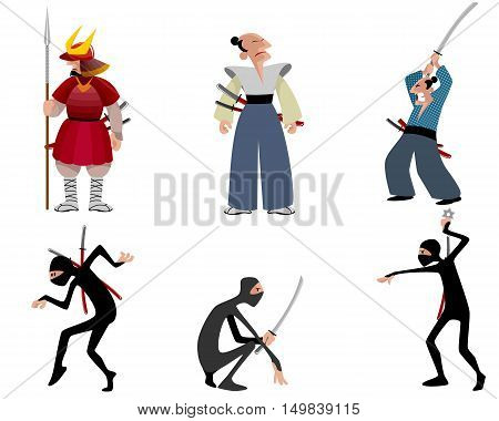 Vector illustration of a samurai and ninja