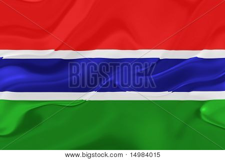 Flag of Gambia, national country symbol illustration wavy fabric