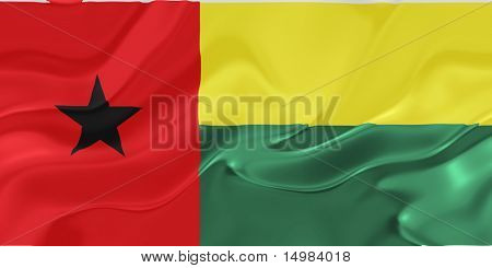 Flag of Guinea Bissau, national country symbol illustration wavy fabric