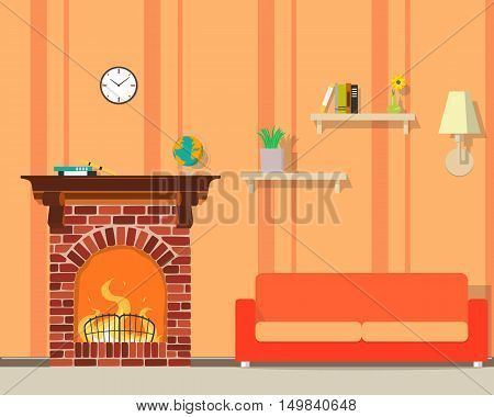 Inside of the room with a fireplace. Vector illustration