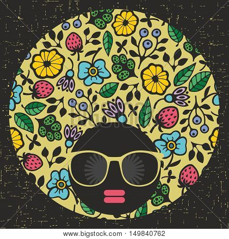 Black head young and pretty girl with creative hair dress. Vector illustration of afro woman. Colorful print. Abstract face.