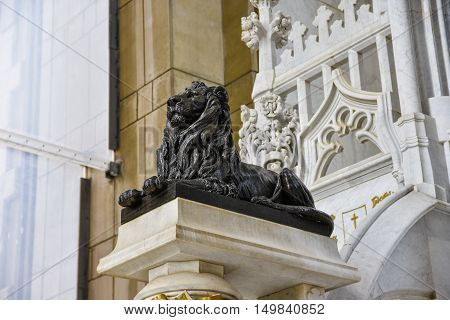 Santo Dominingo, Dominican Republic. Lion sculpture in Christopher Columbus Lighthouse.