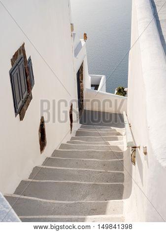 street of Santorini island in cyclades of Greece
