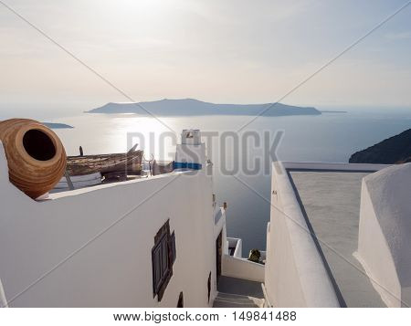 view of the volcano in Santorini island in cyclades of Greece