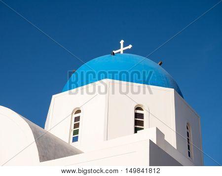 church top in Santorini island in cyclades of Greece