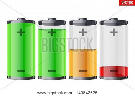 Set of rechargeable batteries with indication level of full charge to low. Editable Vector illustration Isolated on white background.