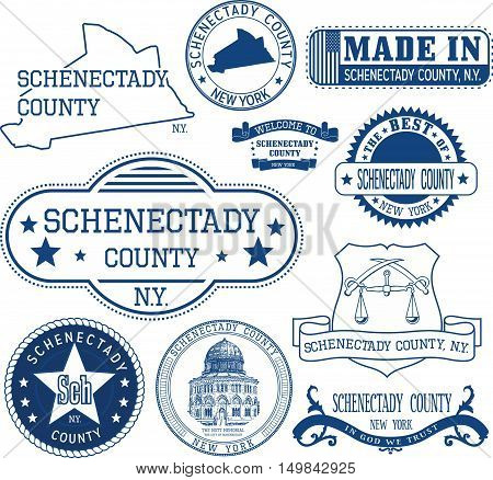 Generic Stamps And Signs Of Schenectady County, Ny
