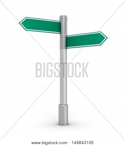 blank road sign 3d illustration isolated on white background