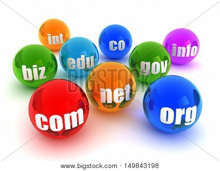 domains 3d illustration isolated on white background