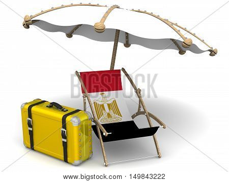 Holidays in Egypt. Concept. Empty sunbed with a flag of Egypt and an umbrella on a white surface. Isolated. 3D Illustration